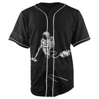 Space Cleaning Astronaut Black Button Up Baseball Jersey