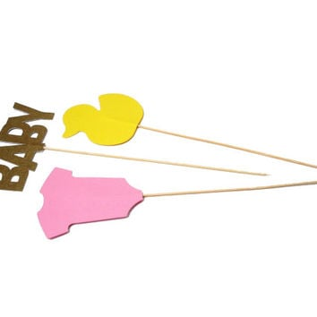 3 Baby Girl Shower Centerpiece Wands, Baby Shower Party Decorations - No1082