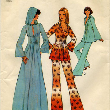 Simplicity 7194 Retro 70s Sewing Pattern Boho Hippie Style Tunic Hooded Caftan Wide Leg Pants Bell Sleeves Bust 34