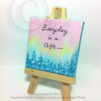 Everyday is a Gift Canvas Quote Art Aurora Borealis Pine Tree Winter Art Winter Painting Mini Oil Painting Original Art Small Painting Cute