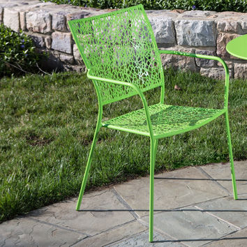 Set of 2 Outdoor Patio Stacking Metal Dining Arm Chair in Lime Green