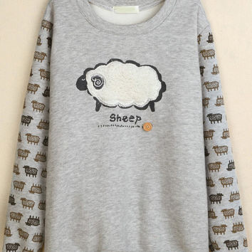 Grey Sheep Embroidered Long Sleeve Sweatshirt