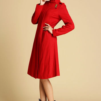 Red Wool Coat Winter Jacker (0343)