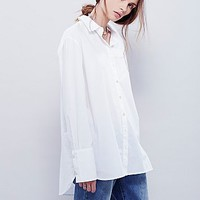 Free People Womens New Soul Poplin Top