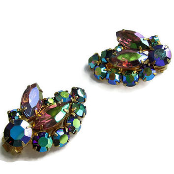 Glitzy AB Blue and Purple Rhinestone Clip Earrings, Vintage 1960s, Ritzy Honkers