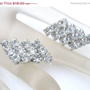 On Sale Clear Rhinestone Shoe Clips Set Pair Silver Vintage Wedding