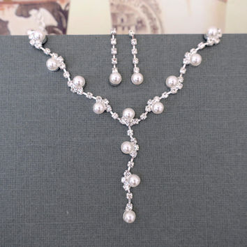 Wedding Y Necklace Earrings Jewelry Set, Bridal Crystal Rhinestone Pearl Jewelry
