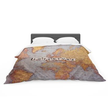 "Sylvia Cook ""Adventure Map"" World Featherweight Duvet Cover"