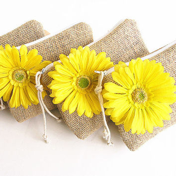 4 Burlap wristlets, Burlap clutches, Bridal clutches, Bridesmaid clutches-Yellow flower .