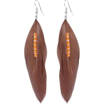 Tawny Feather and Crystal Earrings