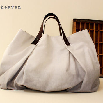 CANVAS WEEKENDER BAGGray with dark brown leather by cocosheaven