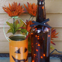 Halloween Autumn Decor Orange LED Lights in Brown Glass Bottle