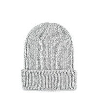 Fold-Over Marled Knit Beanie