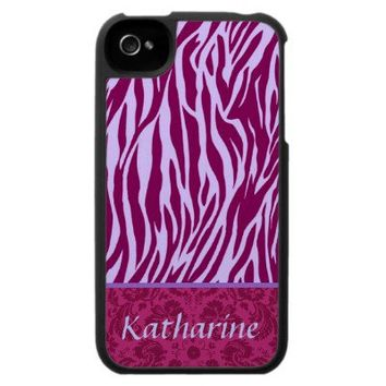 Magenta and Purple Zebra Print Custom Name Case For The iPhone 4 from Zazzle.com