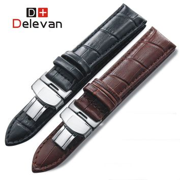 Calf Leather Watch band Watch Strap Butterfly Clasp for Seiko Oris Citizen for Fashion watchband for all watchbands 14mm-22mm