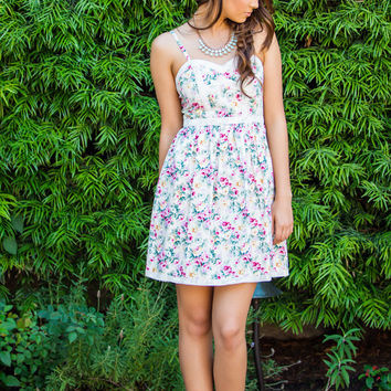 Cassandra Sweetheart Floral Dress