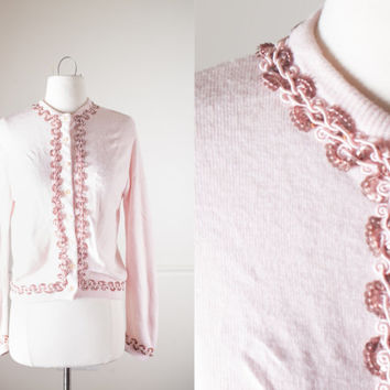 Vintage 60s Sequined Sweater | 1960s Pale Pink Cardigan Sweater Mid Century Modern Sweater Evening Cocktail Mod Retro Rockabilly Clothing