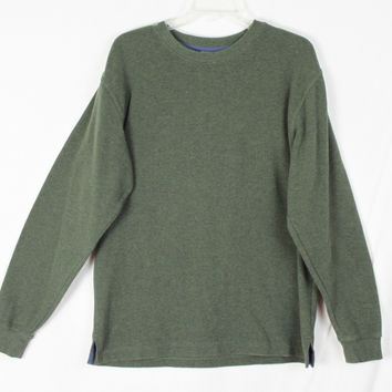 Nice Mens M size LL Bean Green Cotton Crew Neck Sweater Outdoor Casual Comfort Shirt