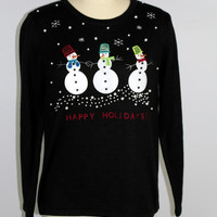 3 Snowman Happy Holidays Sweater Christmas Sz Large 12-14