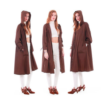 80s Vintage Brown Swing Coat Wide Sweep Trapeze Hooded Long Lightweight Nylon Minimalist Earth Tone Winter Clothing Women Size Medium Large