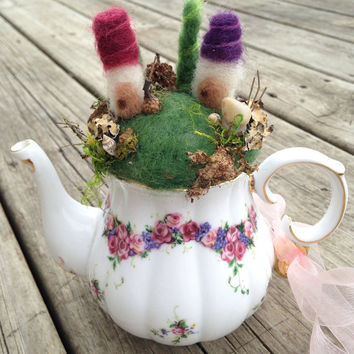 Miniature Fairy Garden: Felt Waldorf Garden, Teapot Mini Garden, Felt Fairy House, Teacup Decor, Pincushion