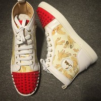 Cl Christian Louboutin Lou Spikes Style #2193 Sneakers Fashion Shoes - Best Deal Online