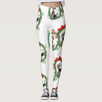 Christmas Retro Poodles Leggings
