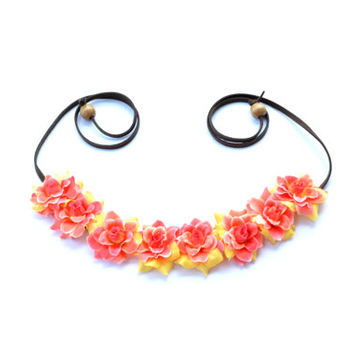 Orange and Yellow Flower Headband Bright Flower Crown Festival Wear Rave Coachella Floral Halo Spring Flower Crown Boho Headpiece Hippie