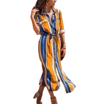 Maxi Shirt Dress Women Summer Beach Casual Work Trend Boho Elegant Vintage Button Bodycon Casual Striped Long Dresses Plus Size