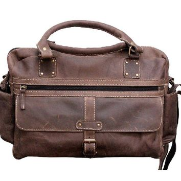 IN-INDIA Genuine Buffalo Leather Dark Handsome Styled Handmade Carry messenger Satchel Unisex  bag - Fits Laptop Upto 15.6 Inches