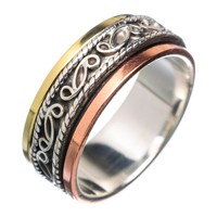 Spinner Ring Three Tone Ornate