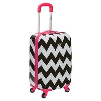 "Rockland Sonic Carry-On Luggage Set - Pink Chevron (20"")"