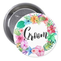 Groom Tropical Floral Wedding Name Button | 3""