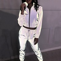 The new fashion women's reflective leisure suit is two pieces