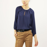 Navy colored silk blouse