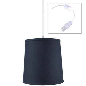 0-009273>Textured Slate Blue Shantung 1 Light Swag Plug-In Pendant Hanging Lamp