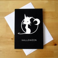 Halloween black and white cat - Greeting card or invitation - illustrated black cat