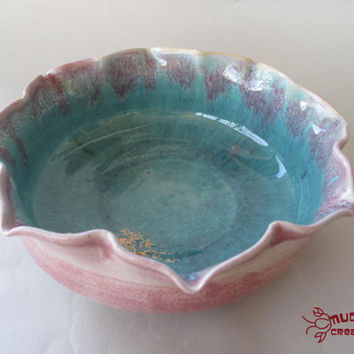 Petal Bowl - Pink and Seafoam Blue