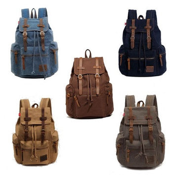 Men's Women's Vintage Canvas Backpack Rucksack Shoulder Bag Messener Schoolbag Satchel [8081692679]