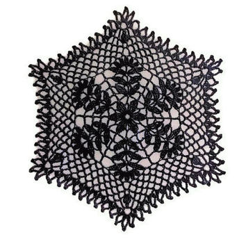 Hexagon Crochet Doily 8  inches, Cottage Chic Home Decor