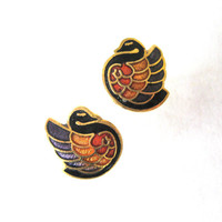 vintage Cloisonne Earrings / Enamel Earrings / Bird Jewelry / 80s Earrings / Stud Earring / Boho Jewelry