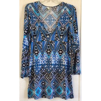 Kenneth Cole Aztec Tunic Top Blue Tee T-Shirt Dress Shift Tribal Bell Sleeve S