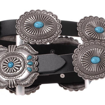 Western Black Leather Belt with Silver and Turquoise Sunburst Conchos
