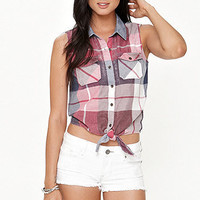 Black Poppy Plaid Tie Front Shirt at PacSun.com