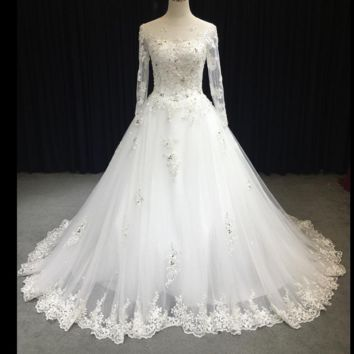 Sheer Sleeve Silver Lace Wedding Dress A line Illusion Neckline Lace Appliqued Bridal Gown