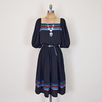 Vintage 70s 80s Black Mexican Dress Mexican Embroider Dress Rainbow Stripe Ribbon Tier Dress Midi Dress 70s Hippie Dress Boho Dress L Large