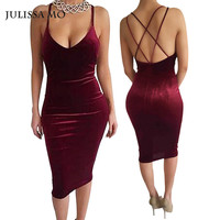 Sexy Club Dress 2018 Vestidos New Fashion Sleeveless Slim Backless Velvet Cross Strapless  Bandage Bodycon Party Dresses