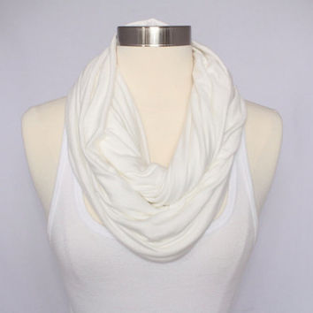 Lightweight Jersey Infinity Scarf - Cream/ Off-White