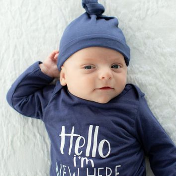 Navy Hello I'm New Here Receiving Gown & Hat