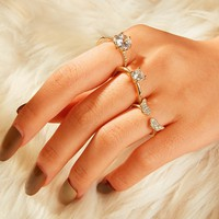 Rhinestone Engraved Ring 3pcs